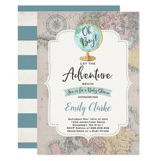 Shop Adventure Begins Baby Shower Invitation Map Shower created by PixelPerfectionParty. Personalize it with photos & text or purchase as is! Custom Baby Shower Invitations, Baby Shower Invitation Cards, Vintage Invitations, Invitation Ideas, Baby Shower Vintage, Shower Baby, Travel Baby Showers, Airplane Baby Shower, Retro Ideas