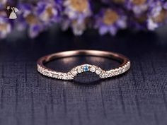 Solid 14K Rose Gold Engagement Ring,Half Eternity Curved U Diamond Band,Aquamarine Wedding Promise Ring,Reco Antique Set - Wedding favors (*Amazon Partner-Link)