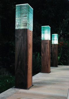 GRANDE WOODEN LED BOLLARD LIGHT - Solid wood LED bollard lighting - Landscape Bollard light - LED Yard Light - Bespoke Bollard lighting