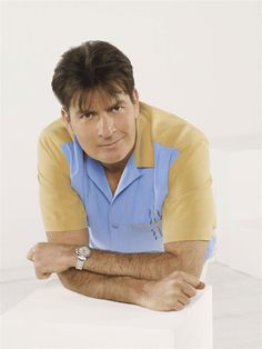 They don't make dudes like him anymore. Two And Half Men, Half Man, Charlie Sheen Shirts, Young Guns, Book Tv, Alpha Male, Bad Boys, Prison, Actors & Actresses