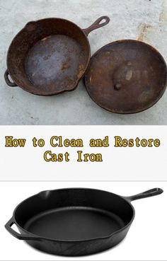 to Clean and Restore Cast Iron - Homesteading - The Homestead Survival .ComHow to Clean and Restore Cast Iron - Homesteading - The Homestead Survival . Rusted Cast Iron Skillet, Cast Iron Pot, Cast Iron Cookware, Cast Iron Cooking, It Cast, Homestead Survival, Survival Food, Survival Skills, Survival Hacks