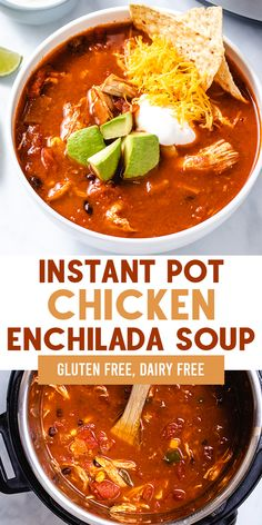 Instant Pot Chicken Enchilada soup is a healthy meal, made with two chicken breasts along with common pantry ingredients and spices. Gluten and dairy free! Best Instant Pot Recipe, Instant Pot Dinner Recipes, Gluten Free Recipes Instant Pot, Instant Pot Meals, Chicken Recipes Dairy Free, Recipes Dinner, Chicken Enchilada Soup, Chicken Enchiladas, Chicken Curry