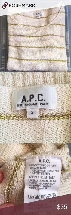 APC Sweater Size Medium EUC Sweater Cream with Gold metallic horizontal stripes shoulder to shoulder 18 inches under arm 19 inches Hem 17 inches length is 23 inches A.P.C. Sweaters Crew & Scoop Necks