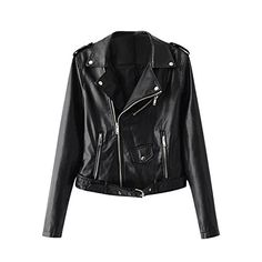 diffstyle Women Motorcycle Jacket Faux PU Leather Biker Zipper Coat with Belt (XL, Black)