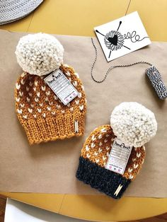 Nickichicki Knitwear hand knitted tiny hearts pom-pom beanie hats in Butterscotch and Wild Rumpus. Baby on the way. Fall Knitting, Baby Hats Knitting, Knitting Kits, Loom Knitting, Knitted Hats, Knitting Patterns, Fall Crochet Hats, Finger Knitting, Scarf Patterns