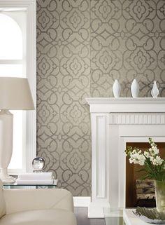 Grillwork Mica Wallpaper in Neutrals design by Candice Olson