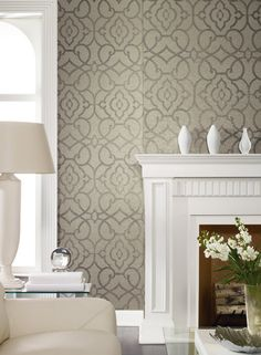 Grillwork Mica Wallpaper in Neutrals design by Candice Olson