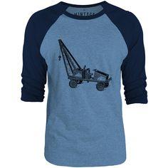 Mintage Little Steel Crane 3/4-Sleeve Raglan Baseball T-Shirt (Cobalt Marle / Navy)