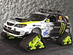 The Subaru WRX STI TRAX is an outrageous vehicle which was displayed at the 2009 SEMA Show in Las Vegas. The car was built for DC Shoes co-founder and SRT USA driver Ken Block by Vermont SportsCar.