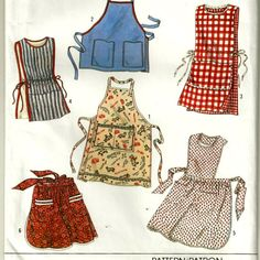 Simplicity 9143 Set of Aprons Pattern Full, Hostess, Cobbler and Tabard Unisex Vintage Sewing Pattern Size SM - LG Bust 32 - 40 Uncut. Retro Apron, Aprons Vintage, Bib Apron, Apron Dress, Simplicity Sewing Patterns, Vintage Sewing Patterns, Apron Pattern Free, Apron Patterns, Dress Patterns