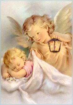 Shop Vintage Guardian Angel And Baby Greeting Card created by RetroMagicShop. Personalize it with photos & text or purchase as is! Gardian Angel, Guardian Angel Pictures, Baby Engel, I Believe In Angels, Angels Among Us, Cross Stitch Baby, Angel Art, Religion, Children