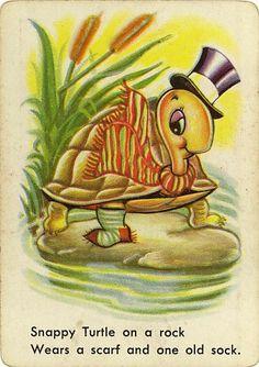 Vintage Swap Game Card: Snappy Turtle. Snap.