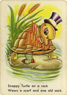 Vintage Swap Game Card: Snappy Turtle. Snap.