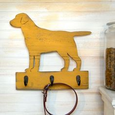 Lab Dog Leash Hook Leash Collar Hook Organizer Wood Labrador Retriever Leash Hook Holder