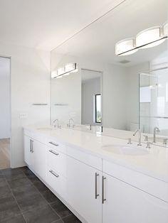 full wall mirror instead of backsplash tile