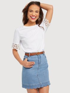 Shop for the Scallop Denim Skirt and other cute Skirts from Draper James by Reese Witherspoon. Browse timeless women's clothes, handbags & home décor. Denim Skirt Outfit Summer, Black Shorts Outfit, Denim Skirt Outfits, Summer Outfits, Modern Outfits, Short Outfits, Cute Skirts, Mini Skirts, Jean Skirts
