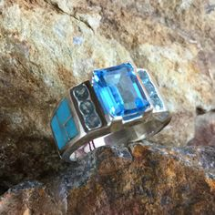 David Rosales Arizona Blue Inlaid Sterling Silver Ring w/ Blue Topaz