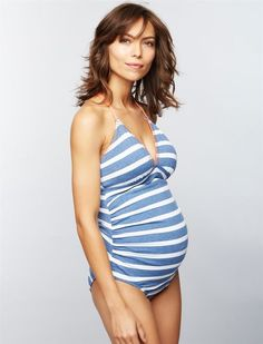 Splendid Striped Maternity Tankini Swimsuit, Chambray Stripe