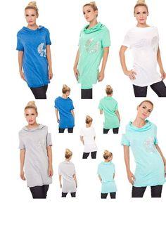 Shirt Longshirt Longtop Minikleid mit Wasserfalloptik Shirt T-Shirt Tunika 36/38