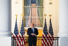 President Donald Trump stands on the Truman Balcony upon returning to the White House on Oct. 5 after testing positive for COVID-19 and spending four days at the the Walter Reed Medical Center in Bethesda, Md Donald And Melania, Inauguration Ceremony, First Lady Melania Trump, National Convention, Poses For Photos, Hollywood Walk Of Fame, Pro Life, Vulnerability, Donald Trump