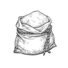 Illustration about Sack of flour. Isolated on white background. Illustration of flour, baking, rustic - 88916771 Feed Sacks, Background Vintage, Food Illustrations, Vintage Fashion, Vintage Style, How To Draw Hands, Retro, Drawings, Barrels
