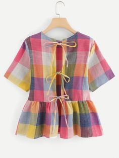 Boho Plaid Peplum Regular Fit Round Neck Short Sleeve Multicolor Regular Length Knot Back Plaid Blouse Dressy Casual Outfits, Cute Comfy Outfits, Crop Top Designs, Blouse Designs, Diy Clothes Tops, Clothes For Women, Formal Dress Patterns, Short Frocks, Girl Outfits