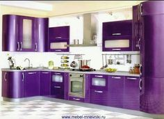 Purple Kitchen,quite okay, the white tones it down nicely Purple Love, All Things Purple, Shades Of Purple, Purple Stuff, Purple Furniture, Purple Kitchen, Purple Rooms, Purple Reign, My New Room