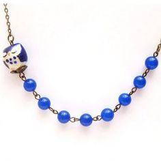 Antiqued Brass Blue Porcelain Owl Jade Necklace