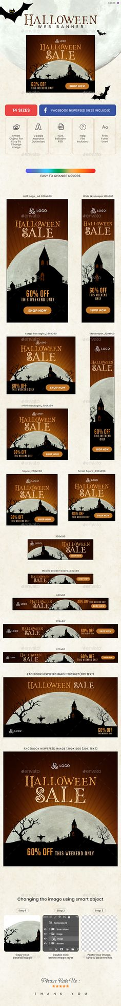 Buy Halloween Sale Web Banner Set by Kimp_io on GraphicRiver. Promote your Products and services with this great looking Banner Set. Halloween Flyer, Halloween Sale, Facebook Ad Size, Website Promotion, Web Banners, Banner Template, Goods And Services, Free Images, The Help
