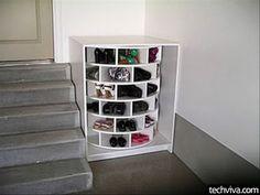 Round Shoe Rack for Storage, http://hative.com/creative-shoes-storage-ideas/