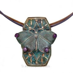 Cast Brass Patina Finish Butterfly Necklace with Amethyst and Chariote Cabochons and Leather Cord Butterfly Gifts, Butterfly Jewelry, Butterfly Pendant, Butterfly Necklace, Butterfly Art, Butterflies, Amethyst Jewelry, Gemstone Earrings, Jewelry Art