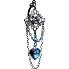 Vintage Blue Heart Top Mount Belly Ring MADE WITH SWAROVSKI ELEMENTS #BodyCandy #bellyring #trending