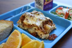 Delicious lasagna, from Meridian World School in Texas.