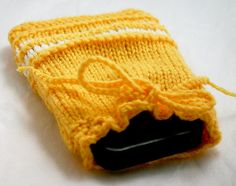 Yellow Hand Knit Cozy Drawstring Pouch by lauraprilltoo on Etsy