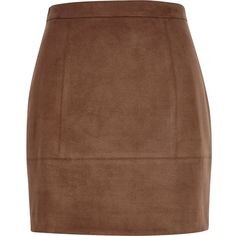 River Island Dark brown faux-suede A-line skirt ($56) ❤ liked on Polyvore featuring skirts, mini skirts, brown, women, tall skirts, mini skirt, panel skirt, brown a line skirt and a line skirt