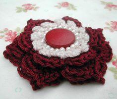 Burgundy Crochet Brooch