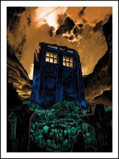 """Tim Doyle - """"The Fields of Trenzalore"""" - inspired by Doctor Who Dark City, Art Doctor Who, Spoke Art, Pop Culture Art, Geek Culture, Great Tv Shows, Geek Art, Time Lords, Blue Box"""