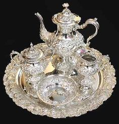 STIEFF-ROSE-Hand-Chased-Sterling-Silver-5-Piece-Tea-Service-w-Tray-c-1950s