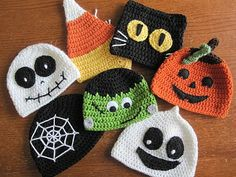 "Crochet Baby Hats A Chick w/ Sticks: Trick or Treat Halloween Hats. Links for FREE patterns in my ""Crochet Hats Crochet Fall, Holiday Crochet, Crochet For Kids, Free Crochet, Knit Crochet, Crochet Baby Hats Free Pattern, Bonnet Crochet, Crochet Beanie, Crocheted Hats"
