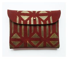 PURSE // maroon suede with golden pattern by BlackbirdAndTheOwl