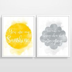 You Are My Sunshine Wall Art Yellow and Grey by BeautifulType