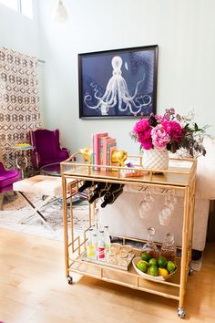 Pink and gold.. And a bar cart!