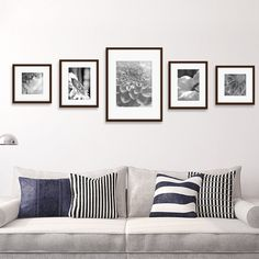 wall collage bedroom hang pictures Darby Home Co Janita 5 Piece Wall Picture Frame Set Cadre Photo Mural, Photo Wall Decor, Photo Frames On Wall, Wall Photos, Wall Decor Frames, Photo Wall Design, Hallway Wall Decor, Picture Frame Sets, Picture Frame Placement