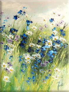 JUDIART obraz olejny kwiaty _Subtelna Łąka_ Cuadros Diy, Art Thomas, Floral Wall Art, Rainbow Art, Pastel Art, Prado, Beautiful Paintings, Bunt, Flower Art