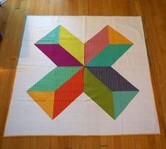 Right Here modern quilt with jellybean fabric