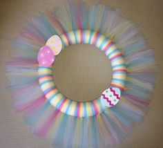 Easter Tulle Wreath 12 inch by TanyaMarieKreations on Etsy