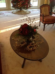 Coffee table arrangement--needed to be easy to move for the many concerts/parties held in this room thoughout the holiday season!