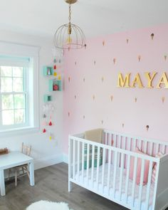 Looking for inspiration for a baby girl's nursery / kids room? Check out this pink, mint and gold room. Ice cream cone decals, a raindrop mobile, and lots of DIY project ideas!