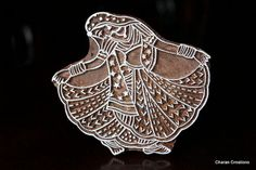 Hand Carved Indian Wood Textile Stamp Block- Indian Gypsy Dancer