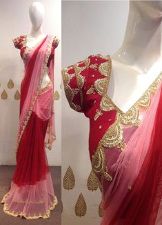 Shreeji Nx - Red With Baby Pink Color Designer Net Saree